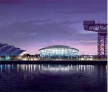 The SSE Hydro exterior at night