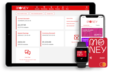 Various devices showing Virgin Money